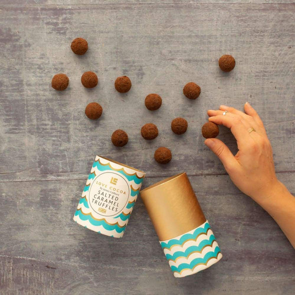 SALTED CARAMEL LIQUID CHOCOLATE TRUFFLES - Seventeen Minutes - self-care subscription box for mums