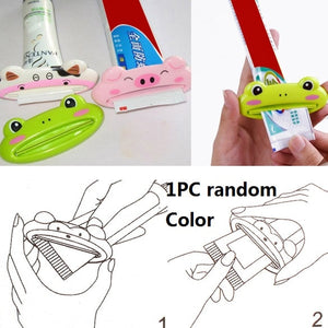 Plastic Toothpaste Dispenser Sucker Holder Rolling Tube Squeezer Dental Cream Bathroom Manual Syringe Gun Dispenser
