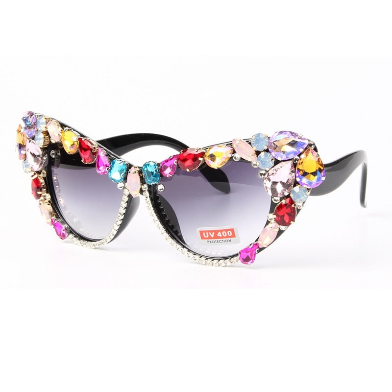 Oversized Sunglasses Women Luxury Glasses Colorful Rhinestone CatEyes Shade 2019