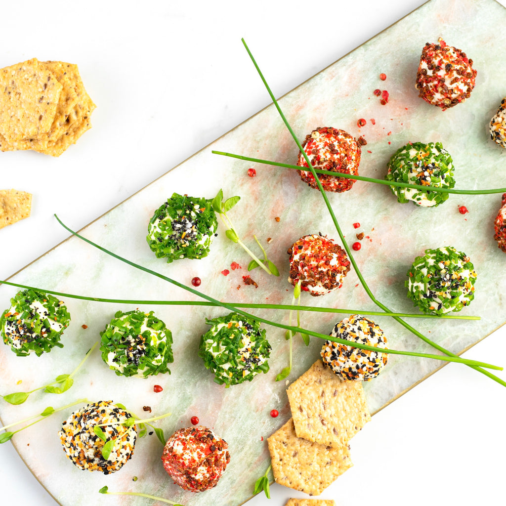 Collagen Cheese Balls with Flax Seed Crackers