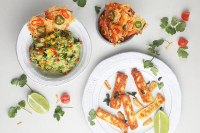 Guacamole with Haloumi Sticks and Smoked Gouda Chips
