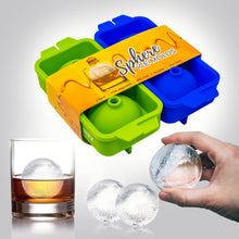 Bizz Silicone Ice Molds (2-Tray Set) Sphere Ice Balls | Flexible, Reusable, BPA Free | Easy to Freeze, Remove Contents | Whiskey, Bourbon, Cocktail or Drink Use