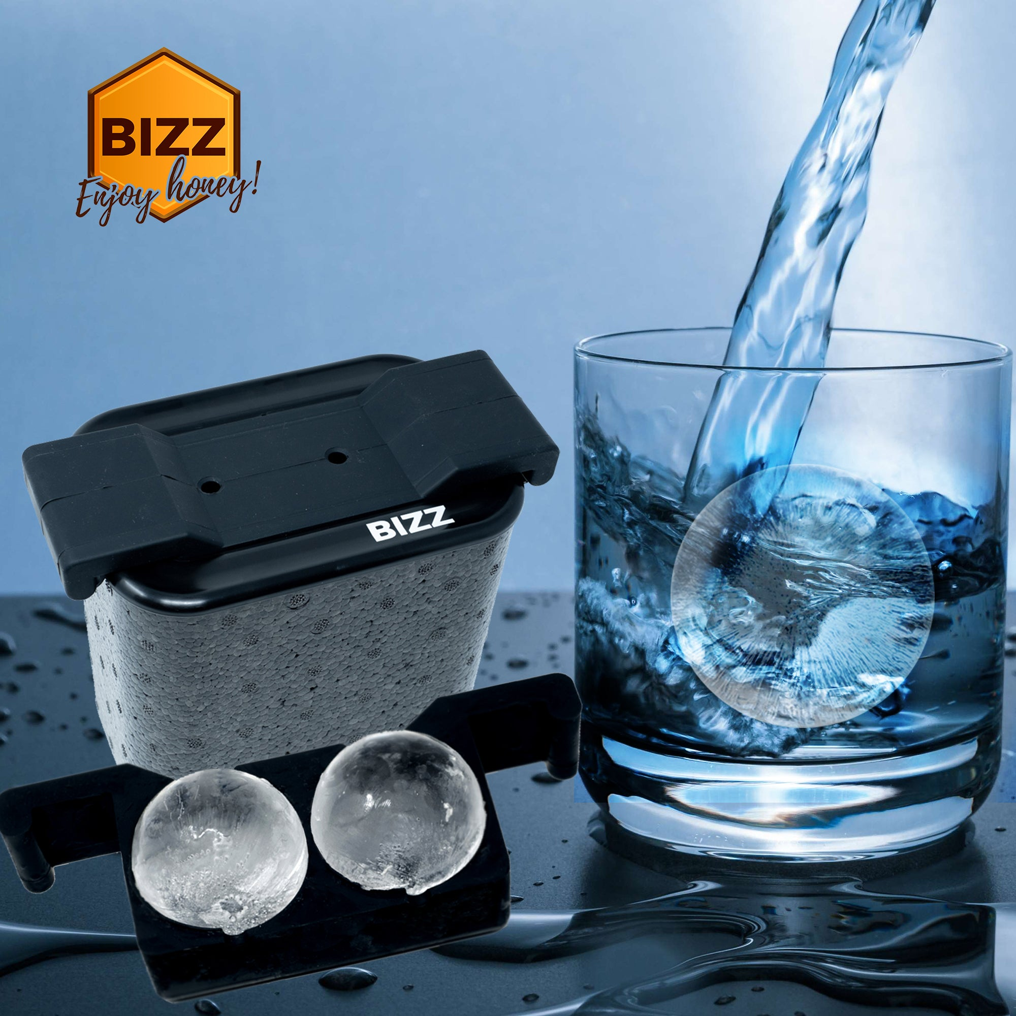 Bizz Crystal Clear Ice Maker | Plastic Silicone Ice Molds, Rigid, BPA Free,  Reusable | Creates Clear, Easy to Freeze and Remove Ice | 2-Cavity System