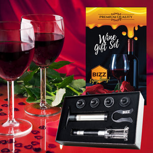 Bizz Wine Gift Set (7-Piece Kit) Vacuum Pump Saver and Preserver, Foil Cutter, Cork Remover, 4 Stoppers