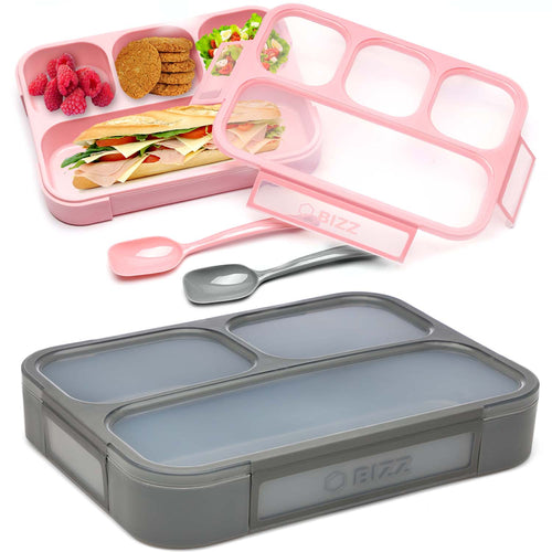 Bizz Bento Lunch Boxes w/Spoon (2-Pack) 3 and 4-Compartment Leakproof Food Storage Container