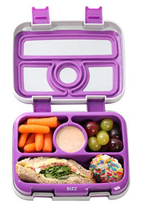 Bizz Bento Lunchbox & Bag Set with Utensils, Removable Microwaveable Dishwasher Safe Tray, Kids Adults, Leakproof 4-Compartment Food Storage Container, Felt Insulated Tote Lunch Bag Great for Travel