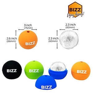 Bizz Ice Sphere Molds (4-Pack) Smooth, Round Balls for Whiskey, Scotch, Cocktails and Non-Alcoholic Beverages