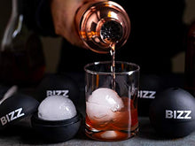 Bizz Large Round Sphere Ice Molds Set with Lid-4 Pack-Big Sphere Ice Cubes for Whiskey, Scotch, Bourbon, Soda, Cocktails, Everyday Use, Parties-Reusable, Food Grade and BPA Free Silicone