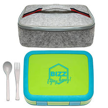 Bizz Bento Lunchbox & Bag Set with Utensils, Removable Microwaveable Dishwasher Safe Tray, Kids Adults, Leakproof 5-Compartment Food Storage Container, Felt Insulated Tote Lunch Bag Great for Travel