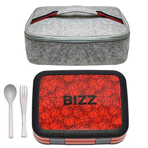 Bizz Bento Box Lunchbox & Bag Set with Utensils, Removable Microwaveable Dishwasher Safe Tray, Kids Adults, Leakproof 4-Compartment Food Storage Container Basketball, Felt Insulated Tote Lunch Bag