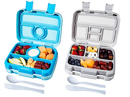 Bizz Travel Bento Box Set with Utensils w/Removable Microwaveable, Dishwasher Safe Tray Lunch Boxes (2-Pack)