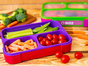 Bizz Lunch Box Containers Set (2-Pack) with Reusable Spoon, 37-oz Fun Innovative Bento Boxes Equipped with Removable Snap-On Lid Cover, Leakproof Meal Prep Lunchbox, Healty Eating, Food Grade BPA-Free