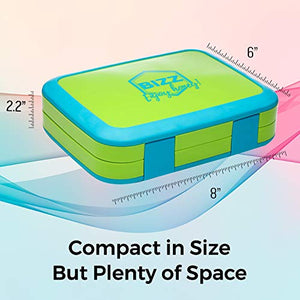 Bizz Bento Box Leakproof Meal Prep Lunchbox with Reusable Fork-Spoon, Dishwasher Microwave Safe Removable Tray, Lunch Box for Kids and Adults, Portion Control Containers Eat Healthy Food, BPA Free