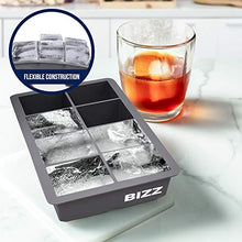 Bizz Large Ice Cube Mold Tray, Square Shaped Cavities-2 Pack-Big Ice Cubes Perfect for Whiskey, Bourbon, Cocktails, Popsicle Making, Everyday Use, Parties-Reusable, Food Grade Silicone, BPA Free