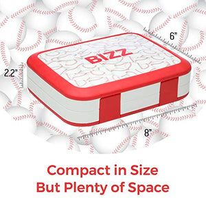 Bizz Bento Box Leakproof Meal Prep Lunchbox with Reusable Fork-Spoon, Dishwasher Microwave Safe Removable Tray, Baseball Lunch Box for Kids and Adults, Portion Control Containers Eat Healthy Food