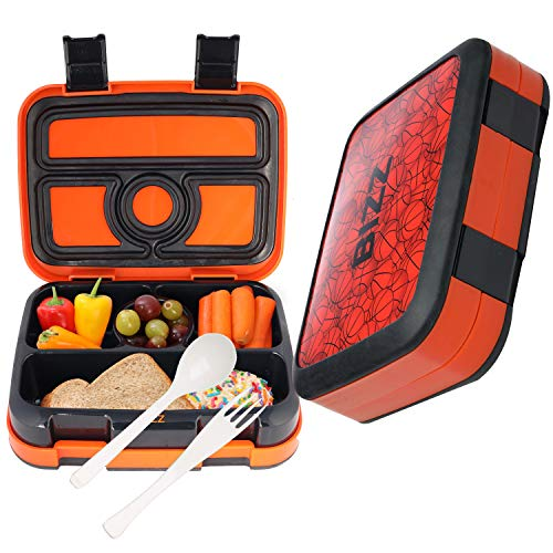 Bizz Bento Box Leakproof Meal Prep Lunchbox with Reusable Fork-Spoon, Dishwasher Microwave Safe Removable Tray, Basketball Lunch Box for Kids and Adults, Portion Control Containers Eat Healthy Food