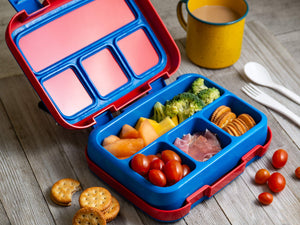 Bizz Large Bento Lunchbox & Bag Set with Utensils, Removable Microwaveable Dishwasher Safe Tray, Kids Adults, Leakproof 4-Compartment Food Storage Container, Insulated Tote Lunch Bag Great for Travel