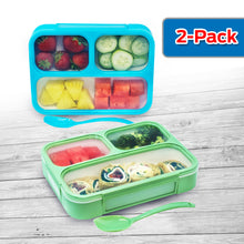 Bizz Bento Lunch Boxes w/Spoon (2-Pack) 3-Compartment Leakproof Food Storage Container
