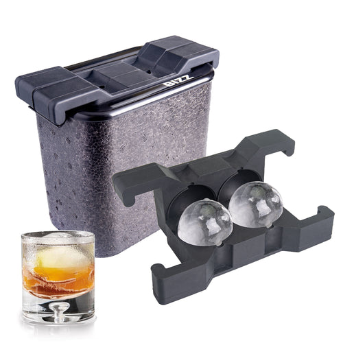 Bizz Crystal Clear Ice Maker | Plastic Silicone Ice Molds, Rigid, BPA Free, Reusable | Creates Clear, Easy to Freeze and Remove Ice | 2-Cavity System | Whiskey, Bourbon, Cocktail Drink Use (Sphere)