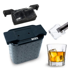 Bizz Crystal Clear Ice Maker | Plastic Silicone Ice Molds, Rigid, BPA Free, Reusable | Creates Clear, Easy to Freeze and Remove Ice | 2-Cavity System | Whiskey, Bourbon, Cocktail Drink Use (Cube)