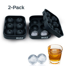 Bizz Silicone Ice Molds (2-Tray Set) Sphere | Flexible, Reusable, BPA Free | Easy to Freeze, Remove Contents | Whiskey, Bourbon, Cocktail or Drink Use