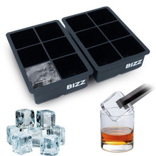 Bizz Silicone Ice Molds (2-Tray Set) Cube | Flexible, Reusable, BPA Free | Easy to Freeze, Remove Contents | Whiskey, Bourbon, Cocktail or Drink Use