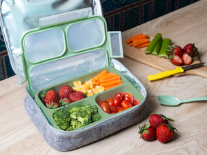 Bento Lunchbox & Bag Set for Kids and Adults, Airtight and Leakproof 3-Compartment Reusable Food Storage Container with Matching Spoon, Plus Felt Insulated Tote Lunch Bag, Great for Travel, by BIZZ