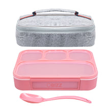 Bento Lunchbox & Bag Set for Kids and Adults, Airtight and Leakproof 4-Compartment Reusable Food Storage Container with Matching Spoon, Plus Felt Insulated Tote Lunch Bag, Great for Travel by BIZZ
