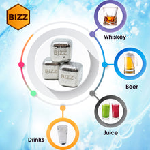 Bizz Whiskey Stones Set (10-Piece Set) Reusable Ice Cubes, Mini Tongs, Tray