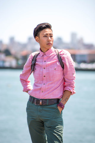 Los-Angeles-based-queer-Asian-LGBTQ-Tomboy-model-and-entrepreneur-Joss-TM-modelling-tomboy-hair-pink-button-up-shirt-green-chinos-and-tie