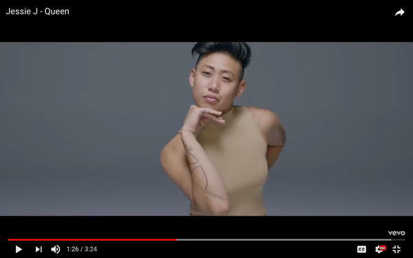 Los-Angeles-based-queer-Asian-LGBTQ-Tomboy-model-and-entrepreneur-Joss-TM-in-Jessie-J-Queen-Music-Video-Vevo-YouTube