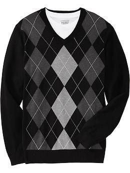 Old-Navy-Argyle-Patterm-Sweater-Black-and-Grey