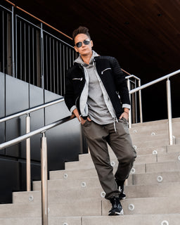 Tomboy-Style-Black-Friday-Fall-Winter-Fashion-Outfit-Black-Zara-Jacket-Sorensen-Seafarer-Shirt-Grey-Hoodie-Army-Green-Joggers-Silver-Black-Puma-Sneakers-Ray-Ban-Aviator-Sunglasses-Culver-City