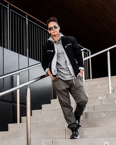 Tomboy-Style-Black-Friday-Fall-Fashion-Outfit-Black-Zara-Jacket-Sorensen-Seafarer-Shirt-Grey-Hoodie-Army-Green-Joggers-Silver-Black-Puma-Sneakers-Ray-Ban-Aviator-Sunglasses-Culver-City