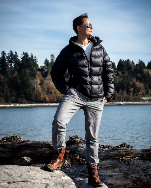 Tomboy-Style-Fall-Winter-Fashion-Outfit-Black-Mountain-Hardware-Down-Jacket-White-H&M-Ribbed-Shirt-Grey-Plaid-Print-Pants-Tan-Merrell-Winter-Boots-Ray-Ban-Aviator-Sunglasses-Silver-Watch