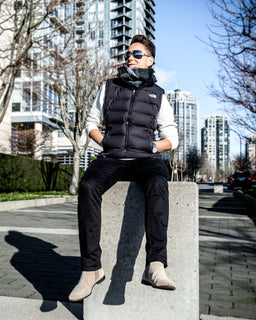 Tomboy-Style-Fashion-Outfit-Dapper-Grey-Scarf-Black-Puffer-Vest-Down-White-Long-Sleeve-Shirt-Black-Jeans-Beige-Chelsea-Boots-Silver-Watch