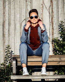 Tomboy-Style-Fashion-Outfit-Dapper-Valentines-Day-Look-Blue-Suit-Red-Hoodie-White-Sneakers-Silver-Watch