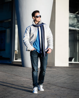 Tomboy-Style-Fashion-Outfit-Streetwear-Blue-Scarf-White-Sherpa-Jacket-Blue-Long-Sleeve-Shirt-Blue-Jeans-White-Sneakers-Aviator-Sunglasses