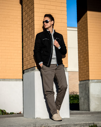 Tomboy-Style-Holiday-Outfit-Ideas-Black-Motto-Jacket-Grey-Shawl-Sweater-Army-Green-Chinos-Chelsea-Boots-Silver-Watch-Silver-Black-Bracelet-Vancouver