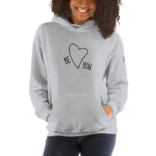 Load image into Gallery viewer, Black-Female-Model-Tomboy-Style-Grey-Hoodie-Be-You-Heart-Printed-Sleeves-Gender-Neutral-Androgynous-Summer-Fashion