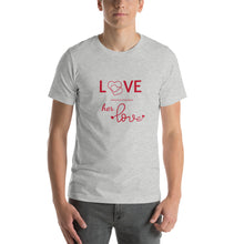 Load image into Gallery viewer, Love Every Little Thing About Her Love, Heather Grey Tshirt, Male Model, Front View