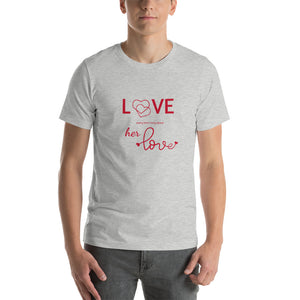 Love Every Little Thing About Her Love, Heather Grey Tshirt, Male Model, Front View