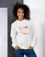 Load image into Gallery viewer, Black-Female-Model-Tomboy-Clothing-Fashion-Every-Little-Thing-White-Sweatshirt-Unisex-Gender-Neutral-Androgynous