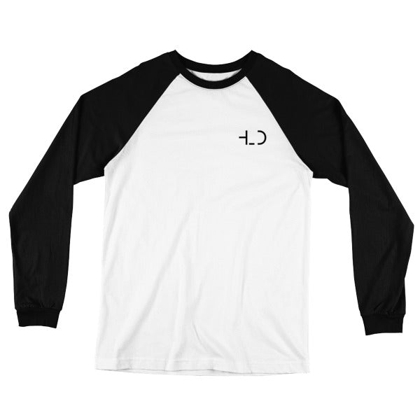 HLD Logo, Soft Jersey Retro Style Long Sleeve Raglan Baseball Shirt, Black and White, Mockup