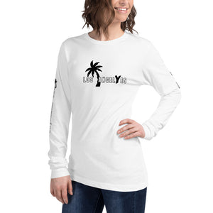 Los Angeles, White, Long Sleeve, Shirt, with printed sleeves, Unisex, Female Model
