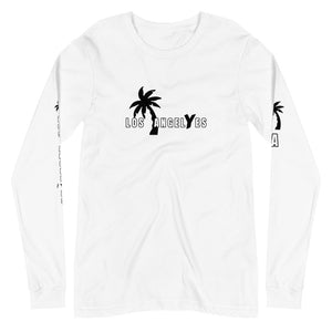 Los Angeles, White, Long Sleeve, Shirt, with printed sleeves, Unisex, Front Mockup