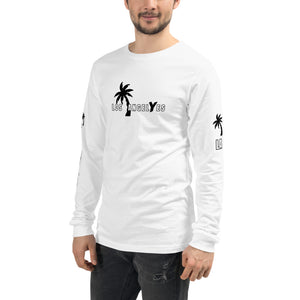 Los Angeles, White, Long Sleeve, Shirt, with printed sleeves, Unisex, Male Model