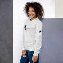 Load image into Gallery viewer, Black-Female-Model-Tomboy-Style-White-Sweatshirt-Los-Angeles-California-Summer-Fashion-Androgynous-Gender-Neutral-Printed-Sleeve-View