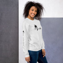 Load image into Gallery viewer, Black-Female-Model-Tomboy-Style-White-Sweatshirt-Los-Angeles-California-Summer-Fashion-Androgynous-Gender-Neutral-Side-View
