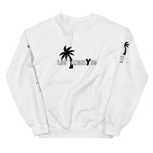 Load image into Gallery viewer, Tomboy-Style-White-Sweatshirt-Los-Angeles-California-Summer-Fashion-Androgynous-Gender-Neutral-printed-sleeves
